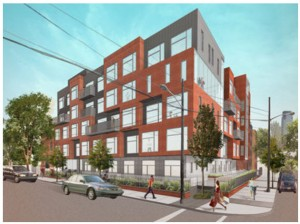 A rendering of the micro-unit development set for the corner of Bright and Varick streets. A Hudson County judge last month gave approval to the developer's site plan over the objections of Jersey City. (Rendering courtesy of Rushman-Dillon)