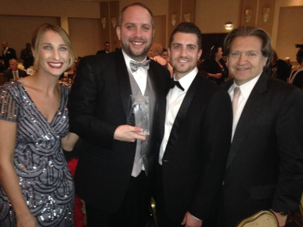 BNE Real Estate Group was honored with six awards at the 21st Annual Garden State Awards of Excellence sponsored by the New Jersey Apartment Association. From left to right: Kristina Hedden, Vice President of Marketing; Jeff Fenner, Area Property Manager; Seth Cohen, Executive Vice President – Head of Operations; and Alan Pines, Partner.