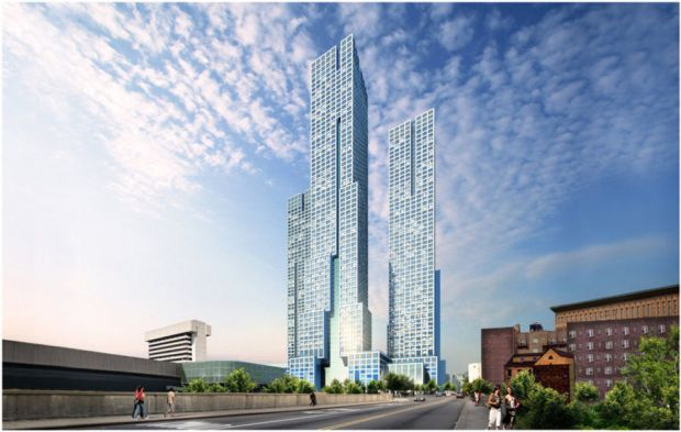 Architectural rendering of Journal Squared, a three-tower, mixed-used development adjacent to the Journal Square PATH station in Jersey City.