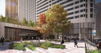 A rendering of the pedestrian plaza slated for 70 and 90 Columbus Drive, two residential towers going up outside the Grove Street PATH station in Jersey City.