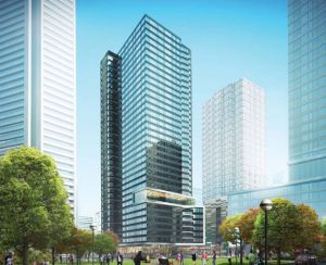 Renderings show developers' plans for a 35-story tower on the site of the Downtown Jersey City Pep Boys. This would be the view from the west. Renderings courtesy of Jersey City