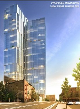 A proposed rendering of how a 42-story tower would look in Jersey City's Hilltop neighborhood. Rendering courtesy of Cushman & Wakefield. Terrence T. McDonald | The Jersey Journal