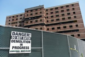 Building 6 at Montgomery Gardens housing complex in Jersey City, seen on Tuesday, Aug. 25, 2015, is one of three buildings that will be demolished by way of explosives on Saturday. Photo: Reena Rose Sibayan
